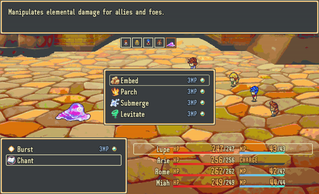 Battle scene showing skill being chosen from a menu. Character names, HP and MP values are also shown.